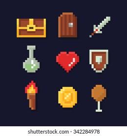 Vektorgrafik-Illustrationssymbole wie Schatztruhe, verschlossene Tür, Schwert, Zaubertrank, rotes Herz, Schild, Feuertaschenlampe, Goldmünze, Nahrungsmittel, für Retro-Arcade-Fantasy-Abenteuerspiel-Entwicklung.