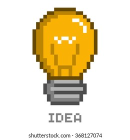 Vector pixel art lightbulb and idea for games and web.
