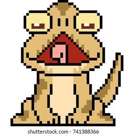 vector pixel art lizard isolated