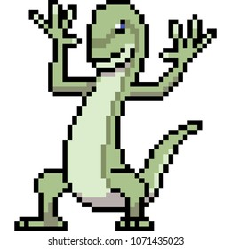 vector pixel art lizzard isolated cartoon