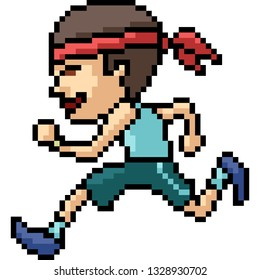 vector pixel art man running isolated cartoon