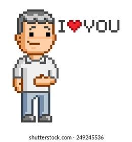 Vector pixel art message Love you