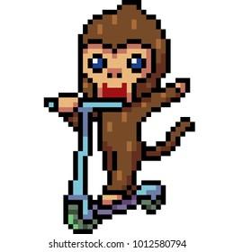 vector pixel art monkey playing isolated