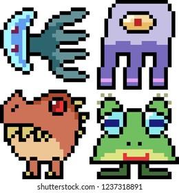 vector pixel art monster icon isolated cartoon