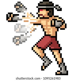 vector pixel art muay thai punch combo isolated cartoon
