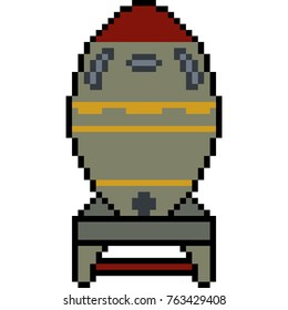 vector pixel art nuke missile isolated