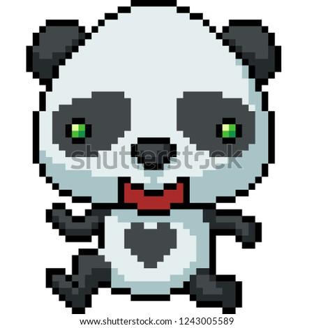 Vector Pixel Art Panda Happy Isolated Stock Vector Royalty Free