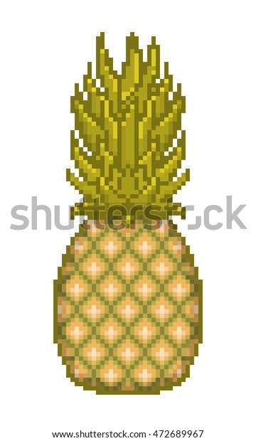 Vector Pixel Art Pineapple Icon Isolated Royalty Free