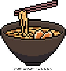 vector pixel art ramen noodle isolated cartoon