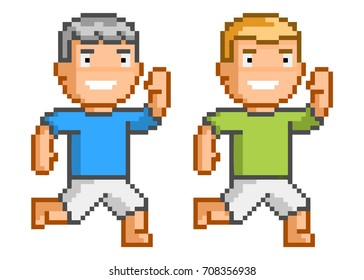 Vector pixel art running man for game and design.