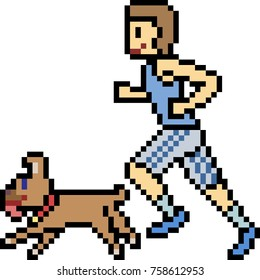 vector pixel art running sport isolated