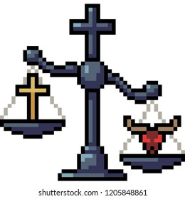 vector pixel art scale judge religion isolated cartoon