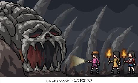 vector pixel art scene skull cave