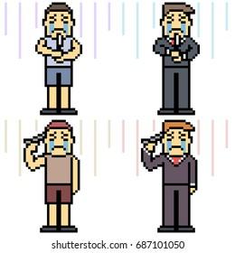 vector pixel art set suicide isolated