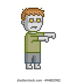 Vector pixel art set zombie for game and design