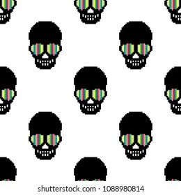 Vector of pixel art skull texture. Seamless pattern of skull. 8 bit.