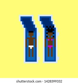 Vector pixel art summer beach illustration black man and woman dialog