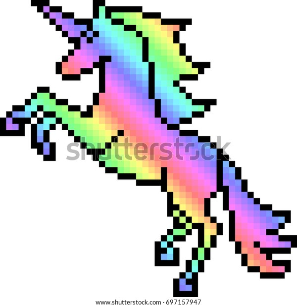 Vector Pixel Art Unicorn Isolated Stock Vector Royalty Free
