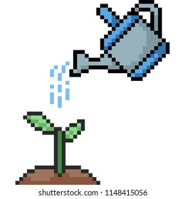 vector pixel art watering tree isolated cartoon