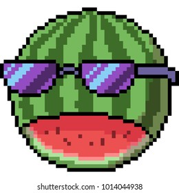 vector pixel art watermelon face isolated