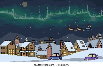 vector pixel art winter town scene isolated