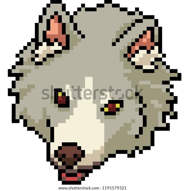 Image Vectorielle De Stock De Vector Pixel Art Wolf Head