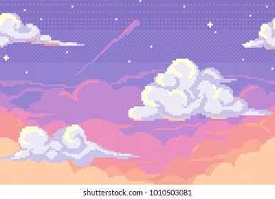 Vector pixel background with evening sky and clouds. Seamless when docking horizontally.