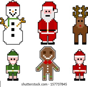 vector pixel christmas characters - Separate layers for easy editing