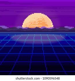 Vector of pixel city. Pixel art background.   Pixel sunrise or sunset. 80s Retro Sci-Fi Background. Pixel skyline city. 8 bit.