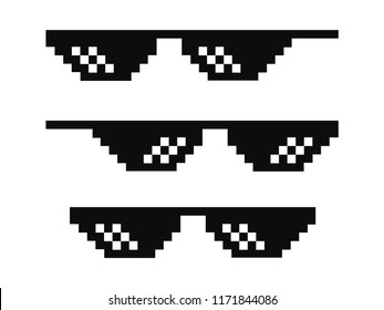 Vector pixel glasses known as thug life symbol in flat style
