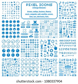 Vector pixel icons isolated, collection of 8bit graphic elements. Simplistic digital signs made in economic, business, social and emotion concepts.