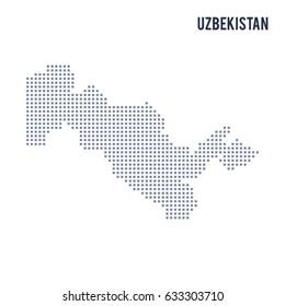 Vector pixel map of Uzbekistan isolated on white background . Travel vector illustration