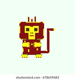 vector pixel monkey