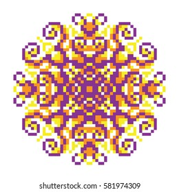 Vector pixel oriental purple-orange-yellow pattern made of small squares on a white background. Mosaic, background, embroidery, wallpaper, kaleidoscope, mandala. Vector illustration.