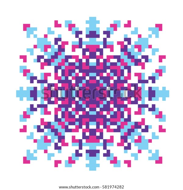 Vector pixel oriental purple-pink-blue pattern made of small squares on a white background. Mosaic, background, embroidery, wallpaper, kaleidoscope, mandala. Vector illustration.