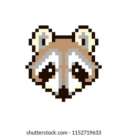 Vector pixel raccoon isolated on white background. 80s-90s style design illustrations - great for stickers, embroidery, badges. racoon cartoon badge or logotype.