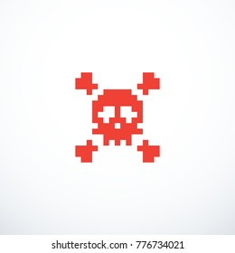 Vector pixel skull icon