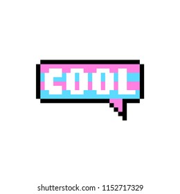 Vector pixel word cool in speech buble isolated on white background. 80s-90s style design illustrations - great for stickers, embroidery, badges. word cool cartoon badge or logotype.