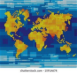 Vector pixel world map