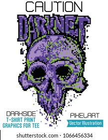 Vector pixelart illustration for t-shirt, graphics for tee, image for clothes and souvenirs. Terrible darknet skull. Hidden dark side - pixel art print. Cool 8 bit rock punk skull on white background