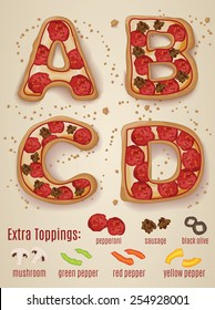 Vector Pizza alphabet.  Hand drawn letters made to look like pizza letters A through D