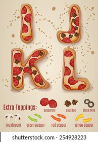 Vector Pizza alphabet.  Hand drawn letters made to look like pizza letters I through L