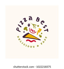 Vector pizza bar logo design isolated on white background. Fast food icon hand drawn - pizza symbol. Good for cafe, fast food service insignia, banner, advertising.