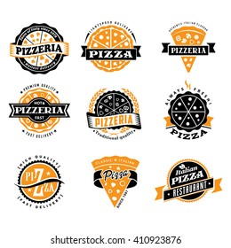 Vector pizza logo set of vintage food pizza labels templates for  restaurant Ideal template for logo or poster