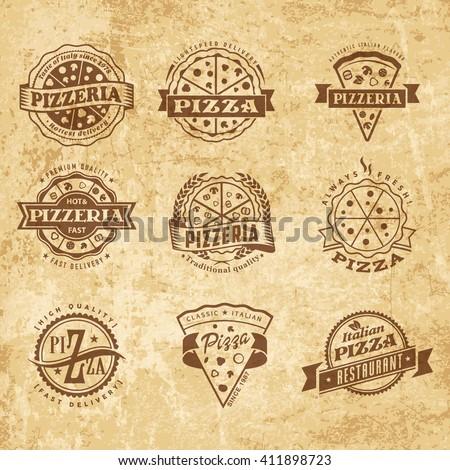 vector pizza logo set vintage food stock vector royalty free