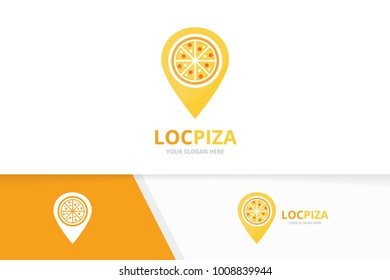 Vector pizza and map pointer logo combination. Food and gps locator symbol or icon. Unique pizzeria and pin logotype design template.