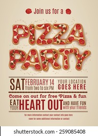 vector pizza party flyer invitation template design