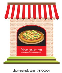 vector of pizza restaurant with signs on door and in front, ready for your text. vector illustration.
