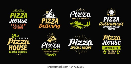 Vector pizza set icons, labels, symbols, signs, design elements