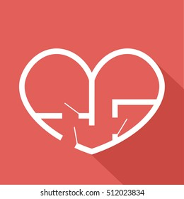 Vector: plan of flat or house in form of heart